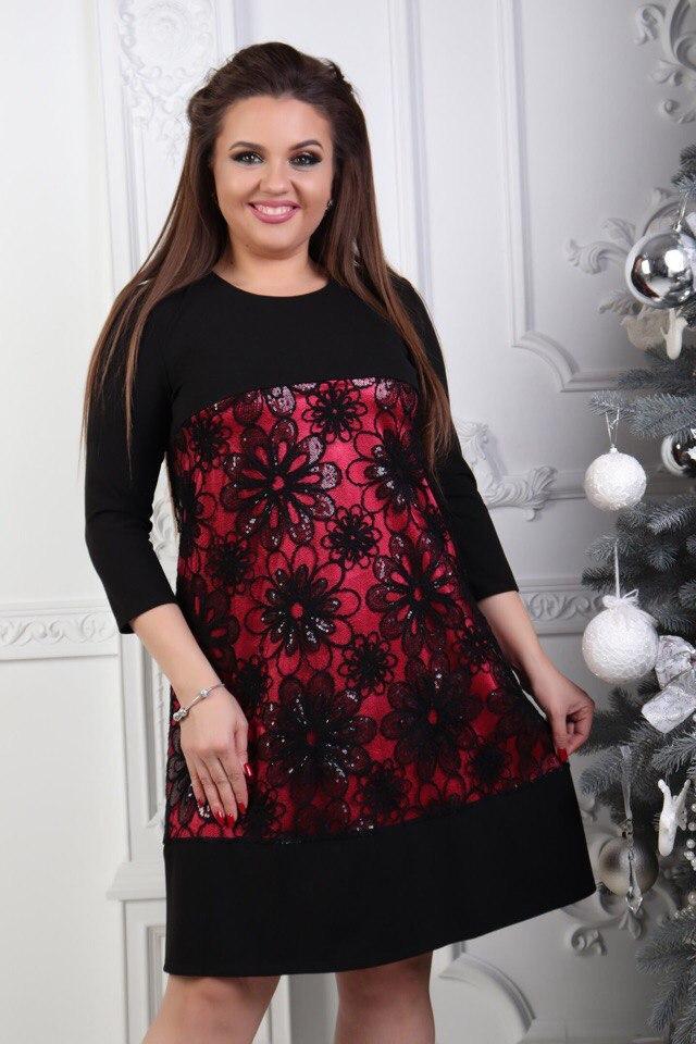 c7c65be24853dce Комбинированное женское платье креп дайвинг + шифон Размер 48, 50, 52, 54