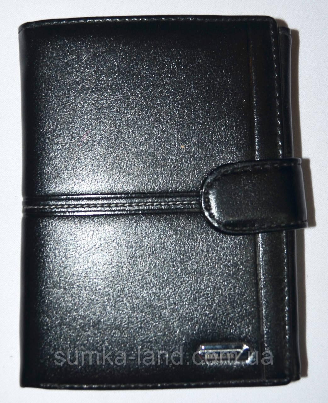 Мужской черный кошелек из искусственной кожи Meiliger на кнопке с доп отделением