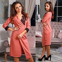 Модное женское платье-халат с отделкой кружевом