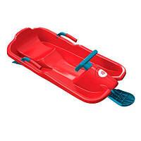 Детские пластиковые санки с рулем Plastkon Skibob красные (максимальная нагрузка 50 кг) ТМ PLAST KON 42535