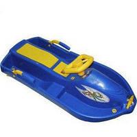 Детские пластиковые санки с рулем Plastkon Snow boat синие (снегокат, максимал. нагрузка до 40 кг) ТМ PLAST KON 42521
