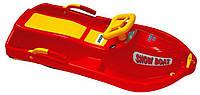 Детские пластиковые санки с рулем Plastkon Snow boat красные (снегокат, максимал. нагрузка до 40 кг) ТМ PLAST KON 42522