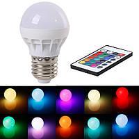 RGB цветная LED лампа с пультом на цоколь E27