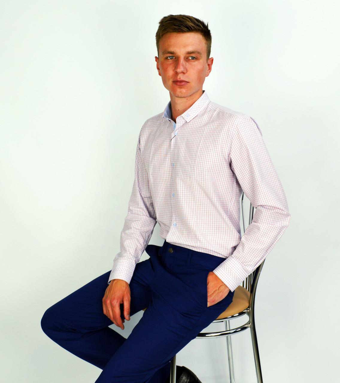 0150f67eca9 Белая к клетку мужская рубашка классическая SALVINO