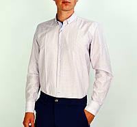 Белая к клетку мужская рубашка классическая SALVINO