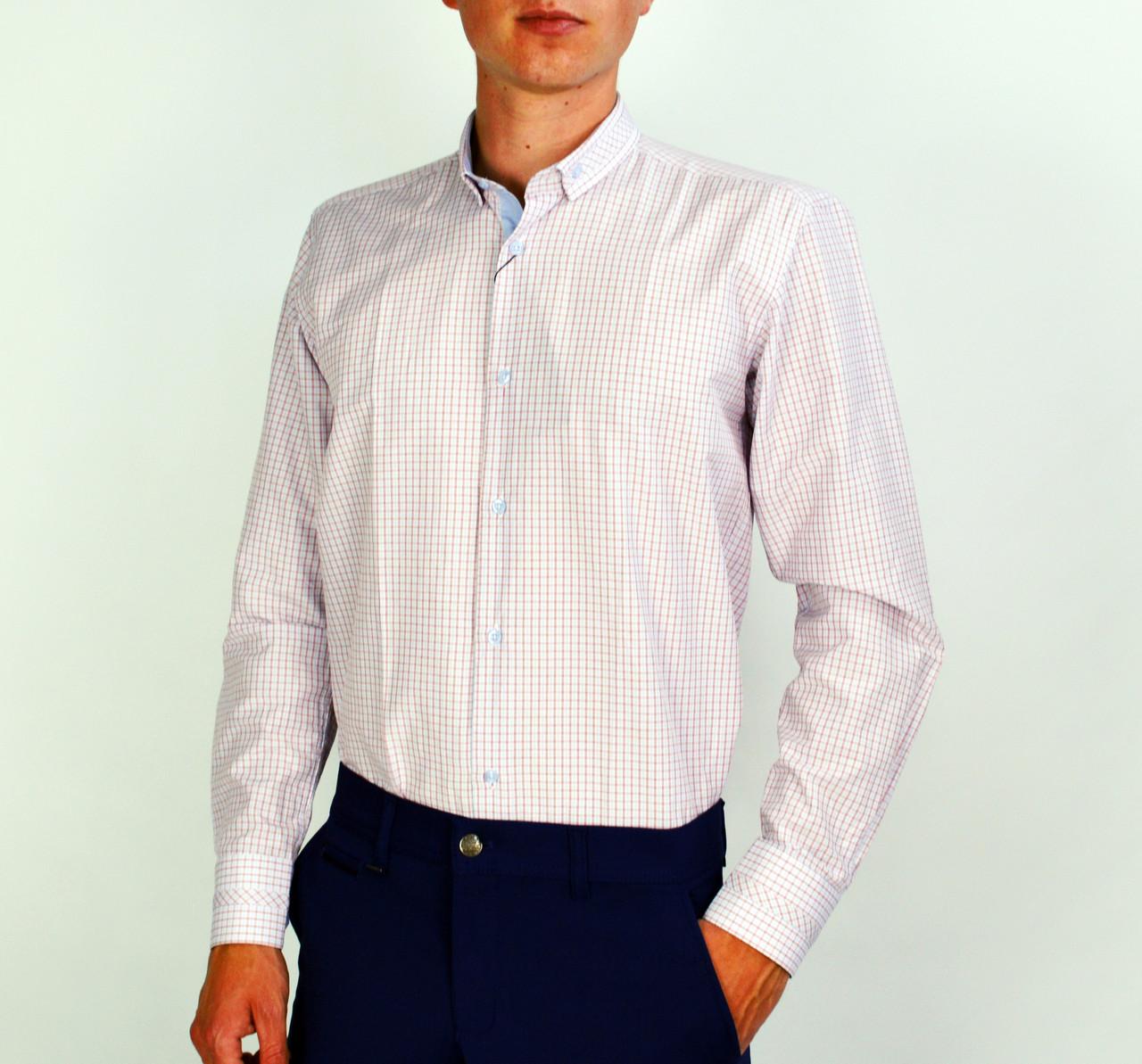 44dceb49dc2 Белая к клетку мужская рубашка классическая SALVINO -