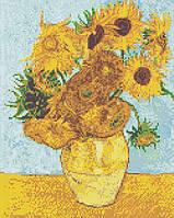 """Схема для вышивки бисером/крестом на габардине """"Ван Гог (Ваза с двенадцатью подсолнухами)"""""""