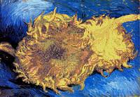 """Схема для вышивки бисером/крестом на габардине """"Репродукция В. Ван Гога (Два срезанных подсолнуха)"""