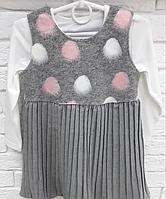 Костюм двойка платье теплое и футболка на девочку 3- 8 лет