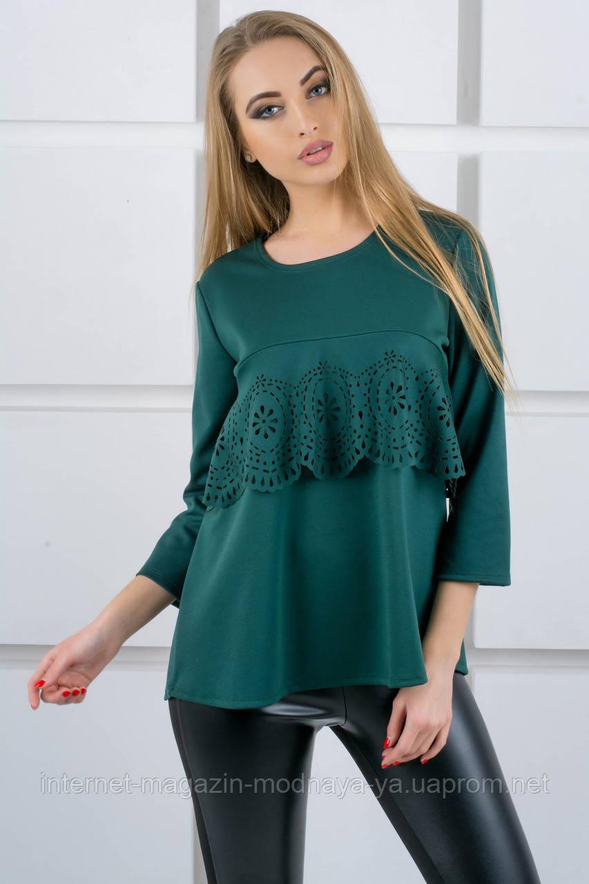 """Блуза с воланом """"Альмина""""  р. 52 зеленый"""