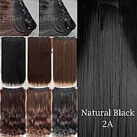 Прядь накладная на клипсах из искусственных вьющихся термо-волос 80 см №2A брюнет