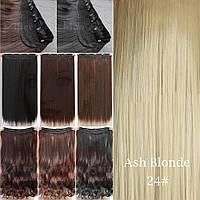Прядь накладная на клипсах из искусственных вьющихся термо-волос 80 см №24 пшеничный блонд