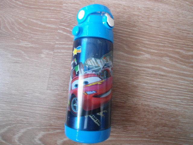Детский термос для напитков и чая с трубочкой 500ml Blue Тачки Cars
