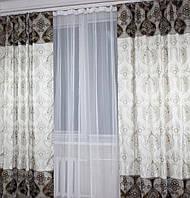 Двухцветные шторы из жаккарда (2шт. 1,5*2,40м.) 148ш (У)
