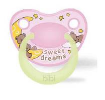 Пустышка силиконовая, 0-6 мес. (S), ночная BIBI «Sweet Dreams pink», Швейцария
