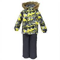 Зимний термо комплект: куртка и штаны на подтяжках для мальчика, модель WINTER, цвет gray pattern/ gray