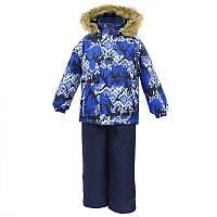 Зимний термо комплект: куртка и штаны на подтяжках для мальчика, модель WINTER, цвет navy pattern/ navy