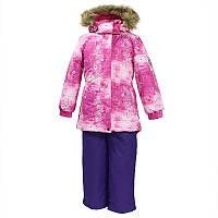 Зимний термо комплект: куртка и штаны на подтяжках для девочки, модель RENELY, цвет fuchsia pattern/ lilac