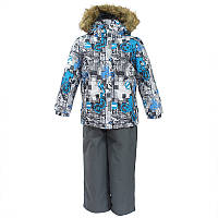 Зимний термо комплект: куртка и штаны на подтяжках для мальчика, модель DANTE, цвет white pattern/ gray
