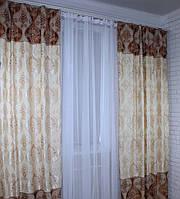 Две готовые двухцветные шторы из жаккарда.  151ш