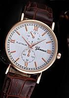 Часы мужские Geneva Platinum с коричневым ремешком