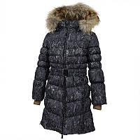 Зимнее пальто-пуховик для девочки, модель YASMINE, цвет black pattern