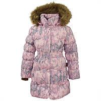 Зимнее пальто-пуховик для девочки, модель GRACE 1, цвет light pink pattern