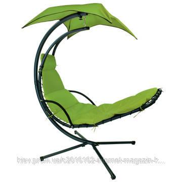 Подвесной шезлонг качеля на дачу с крышей Garden4you DREAM Green  с навесом  H205cm