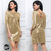 Молодежное мини платье золотистого цвета с пайетками. Модель 16618. Размеры 42-46