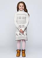 Платье моккосерое с оленями  для девочек , фото 1
