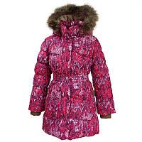 Зимнее пальто-пуховик для девочки, модель GRACE, цвет fuchsia pattern