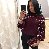 Красивый широкий свитер с жемчугом 2978