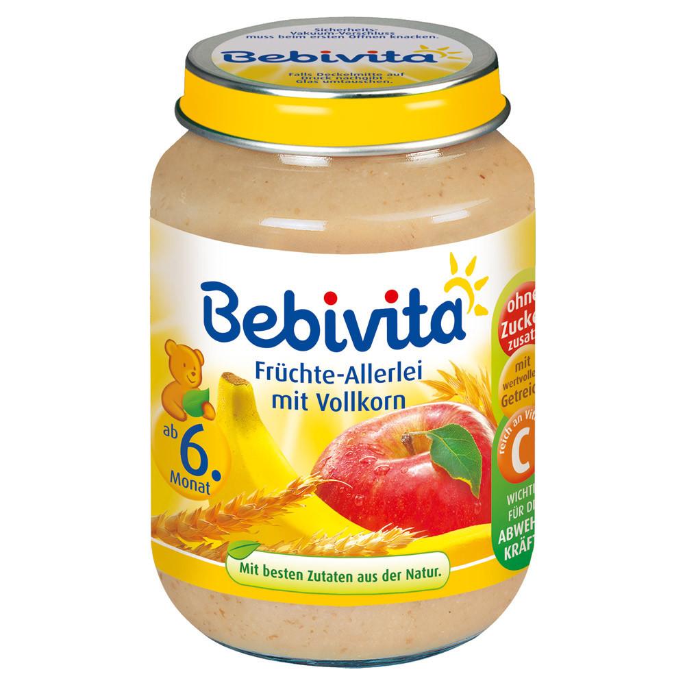 Bebivita  Frucht & Getreide: Früchte-Allerlei mit Vollkorn - Фрукты с овощами и зерновые 190 г  с 6-го мес.