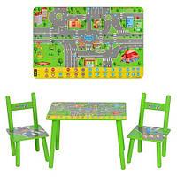 Детский столик M 2102 с двумя стульчиками, ПДД