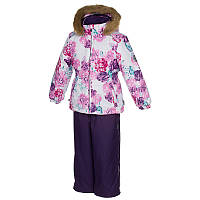 Зимний термо комплект: куртка и штаны на подтяжках для девочки, модель WONDER, цвет white pattern/ dark lilac
