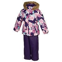 Зимний термо комплект: куртка и штаны на подтяжках для девочки, модель WONDER, цвет dark lilac pattern/ dark l