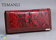 Кошелек женский красный змеиный принт TEMANLI