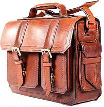 Портфель из натуральной кожи краст UKR V17-104 коричневый