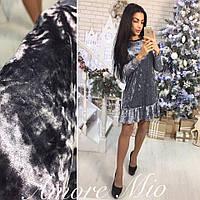 Платье мраморный бархат 1524 серебро 42р