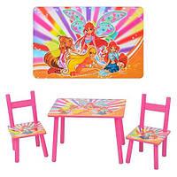 Детский деревянный столик 2547-33 Winx с двумя стульчиками