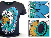 Полноцветная  печать на футболках термопленкой флок