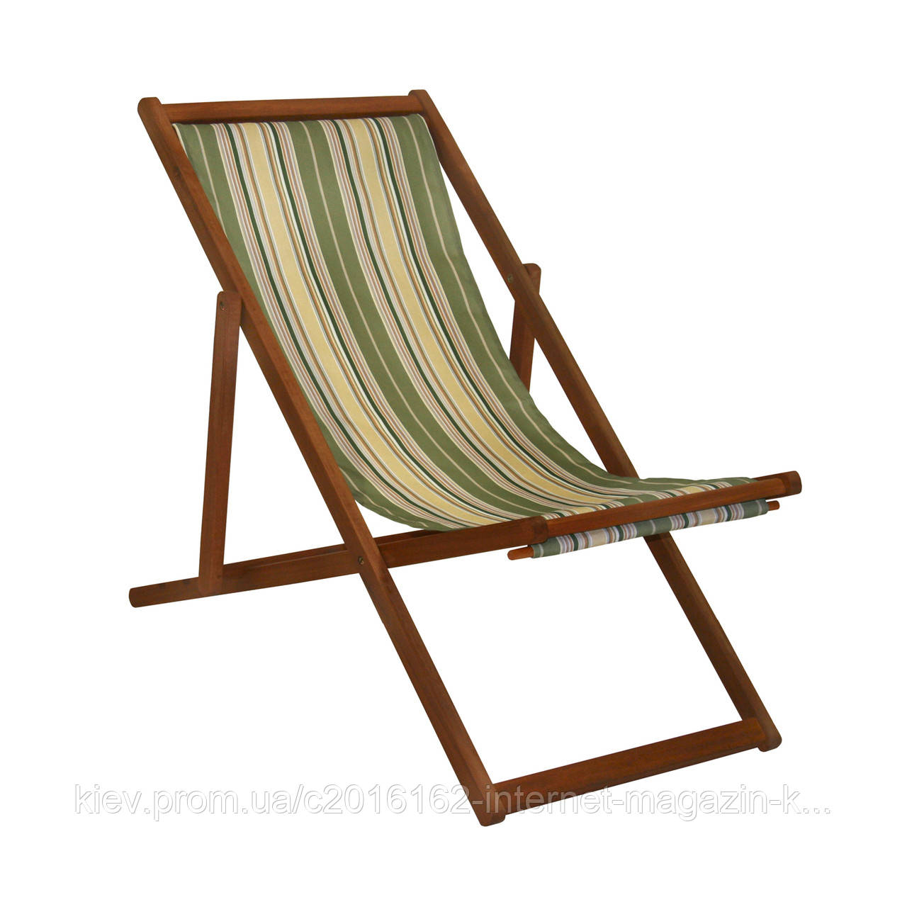 Шезлонг деревянный для сада ретро Garden4you KASA  109 5x59 5xH83 5cm beige striped