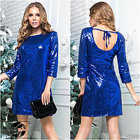 Вечернее платье с пайетками цвета электрик. Модель 16636. Размеры 42-46