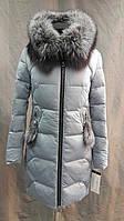 Куртка женская зима с мехом голубая17-087