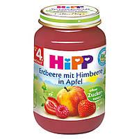 HiPP Пюре фруктовое: клубника с малиной и яблоком 190 г  с 4-го мес.