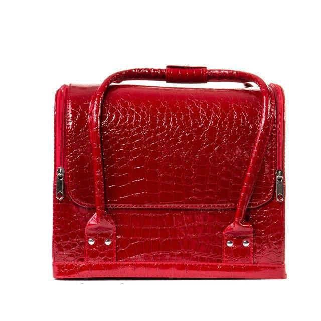"""Бьюти-кейс с выдвижными полочками лаковый,""""кожа крокодила"""",цвет-красный."""
