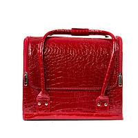 """Бьюти-кейс с выдвижными полочками лаковый,""""кожа крокодила"""",цвет-красный., фото 1"""