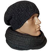 """Мужская вязаная шапка - носок """"Поло"""", объемной ручной вязки"""