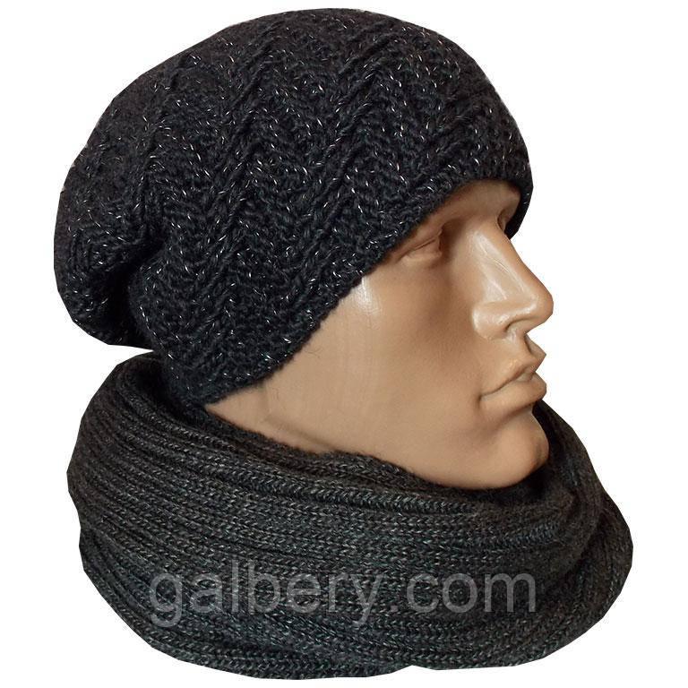мужская вязаная шапка носок поло объемной ручной вязки цена