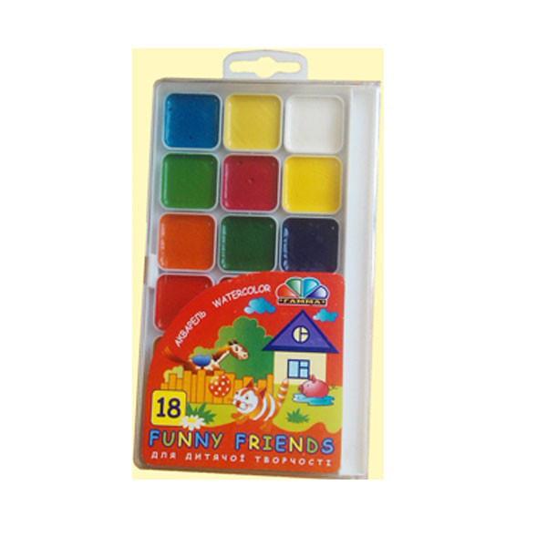Краски акварель медовые ГАММА Забавные друзья 312080, 18 цветов, б/кист.